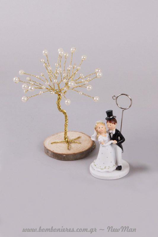 Η καρτοθήκη νύφη-γαμπρός και το δέντρο της ζωής σε χρυσό