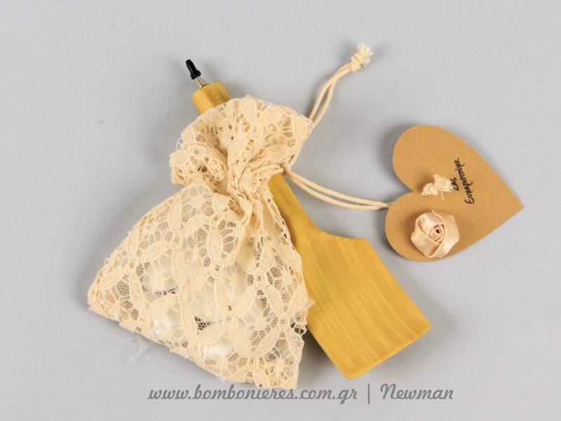 Ξύλινη σπάτουλα με πουγκί για μπομπονιέρα mpomponieres spatoules mageiremata sintages