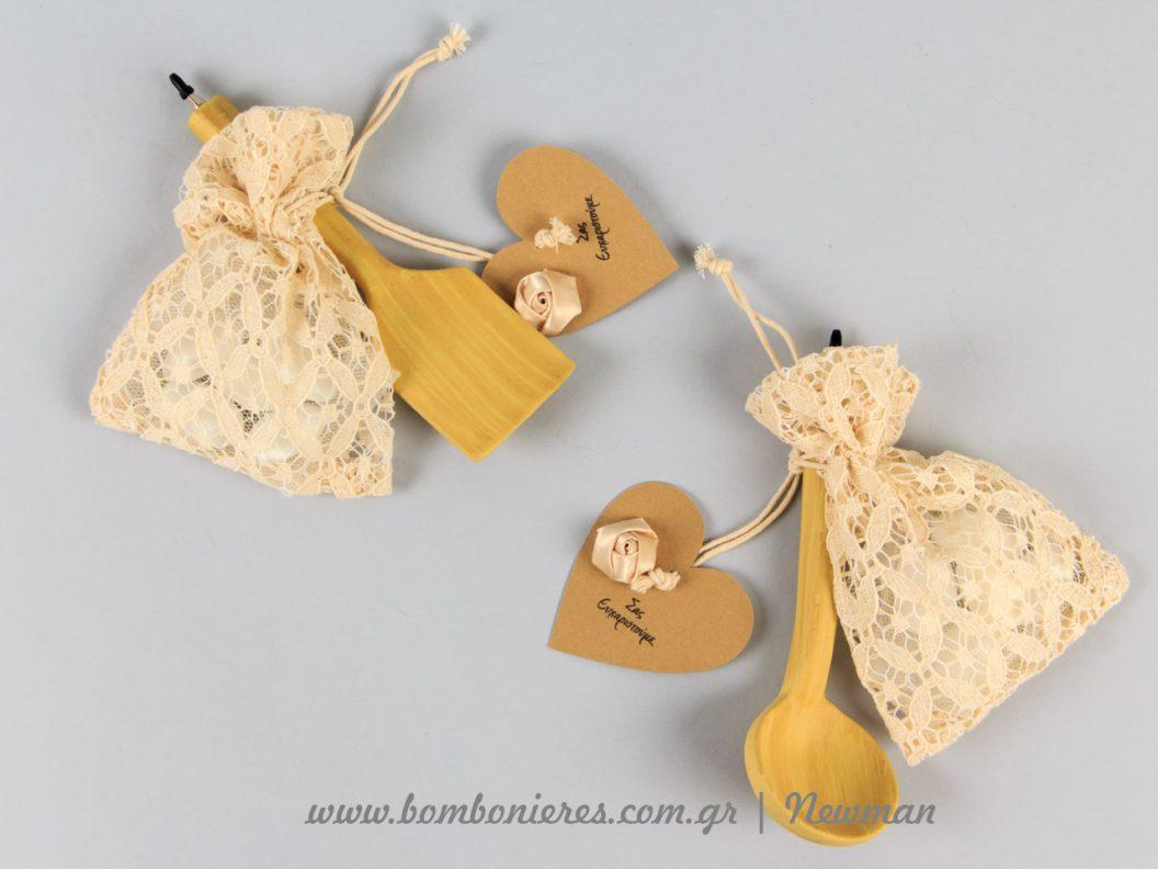 ξύλινες κουτάλες μπομπονιέρες mpomponieres koutales spatoules mageiremata sintages