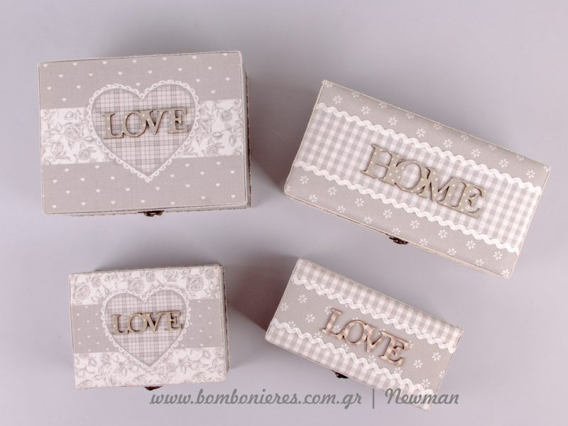 Ξύλινα κουτιά Love και Home