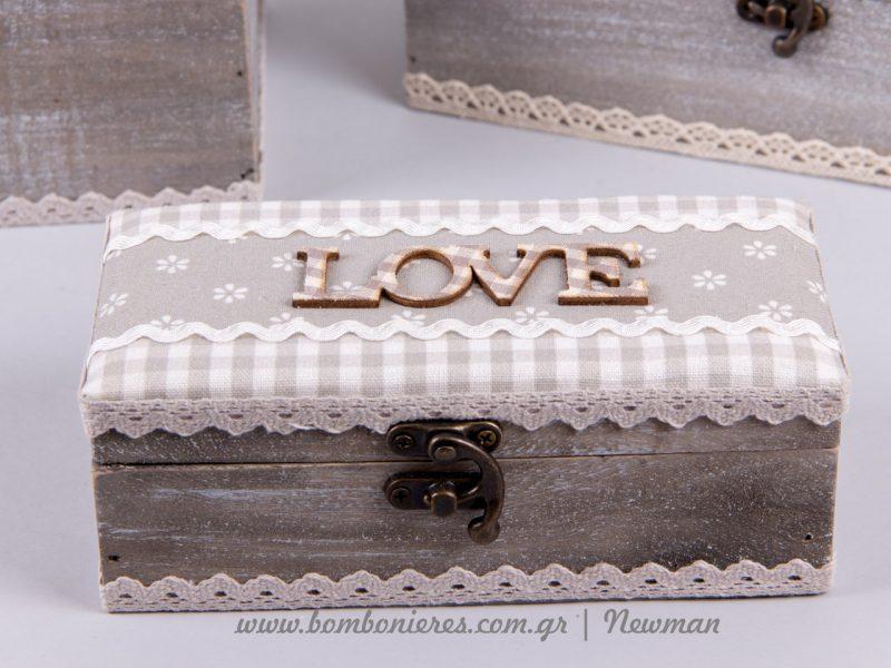 Ξύλινα κουτιά Love