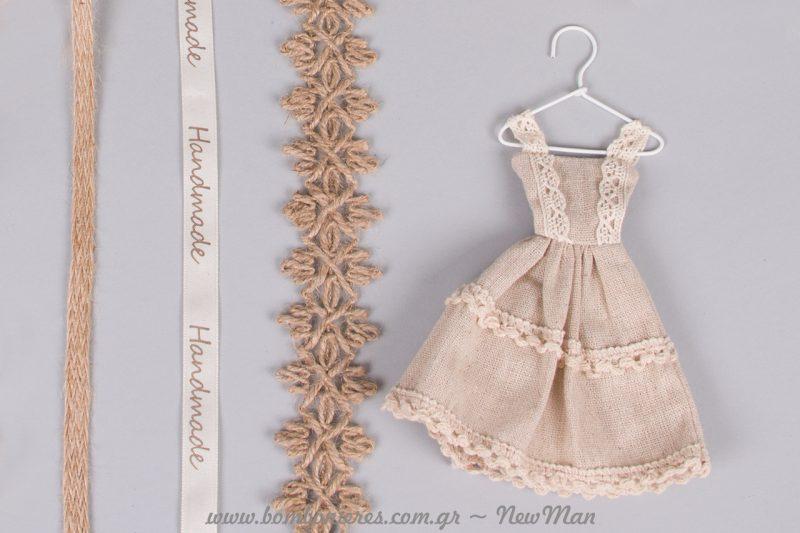 Φορεματάκι από λινάτσα και δαντέλα για μια παραμυθένια μπομπονιέρα