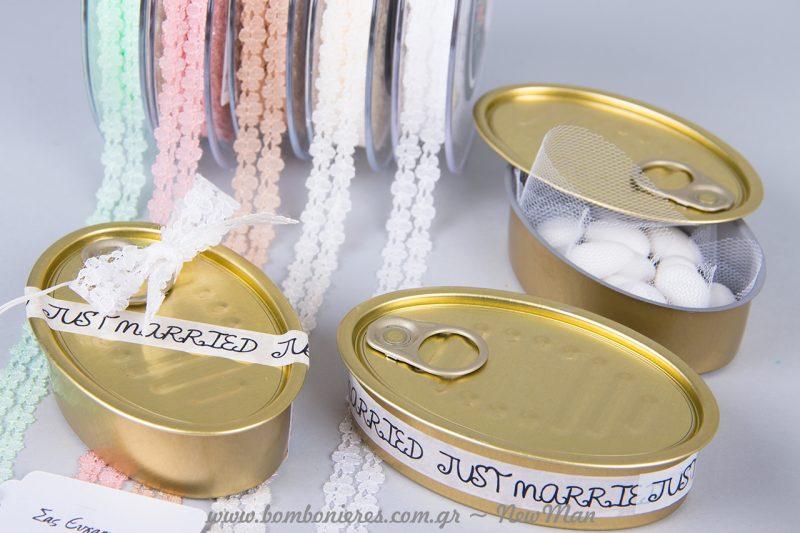 Μπομπονιέρα Κονσέρβα Σαρδέλας και η αυτοκόλλητη ταινία Washi Tape JUST MARRIED 15mm x 10m.