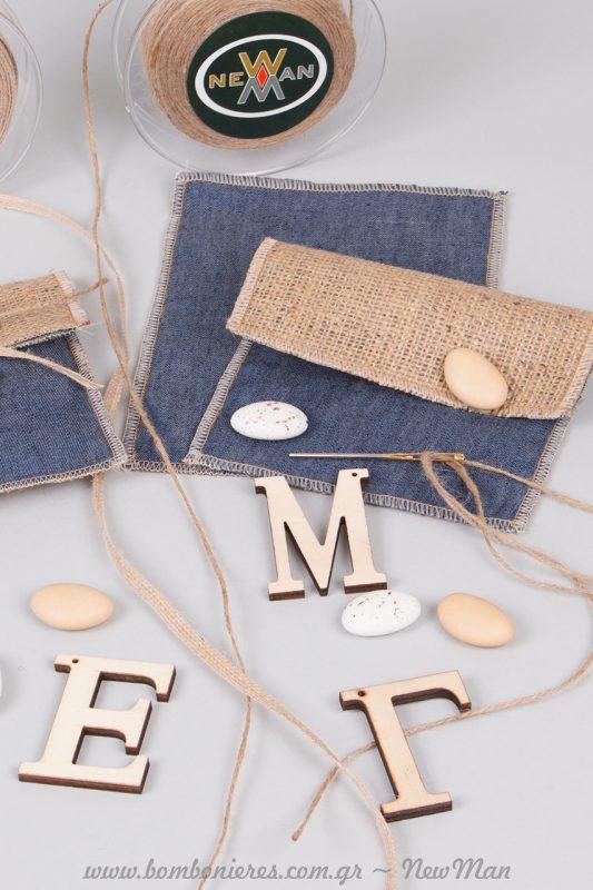 Πάρτε βελόνα και κορδόνι γιούτα και «κεντήστε» μόνοι σας το ξύλινο μονόγραμμα πάνω στο πουγκάκι.