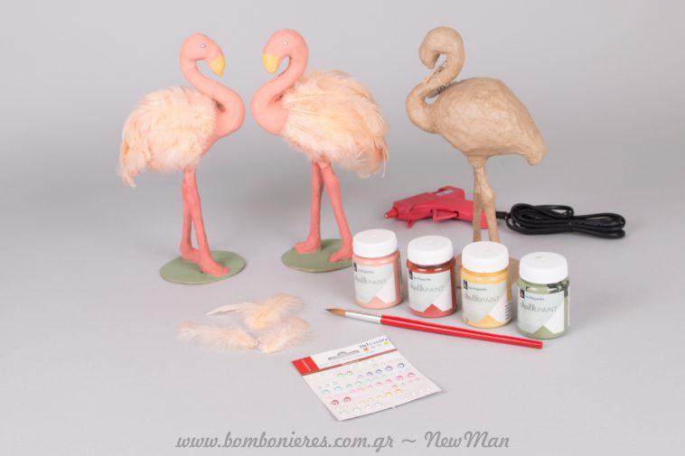 Φτιάξε κι εσύ το δικό σου ροζ φλαμίνγκο με chalk paint, αυτοκόλλητες πέρλες και ροζ πούπουλα