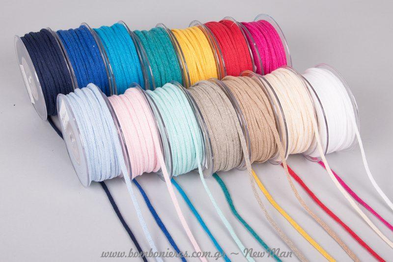 Βαμβακερό κορδόνι σωλήνας σε μεγάλη ποικιλία χρωμάτων για να διαλέξετε.