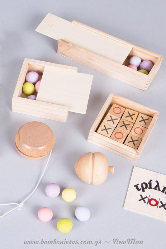 Ξύλινα οικολογικά παιχνίδια για την μπομπονιέρα της βάπτισης
