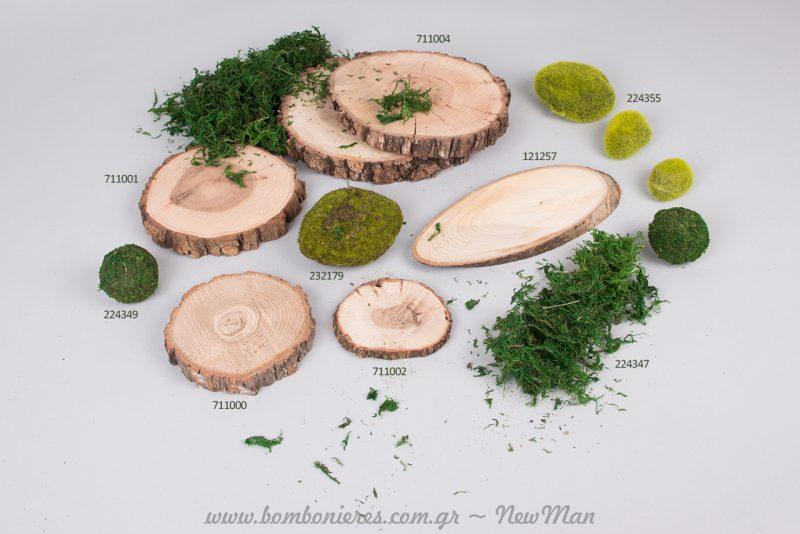 Φέτες ξύλου με πρασινάδες