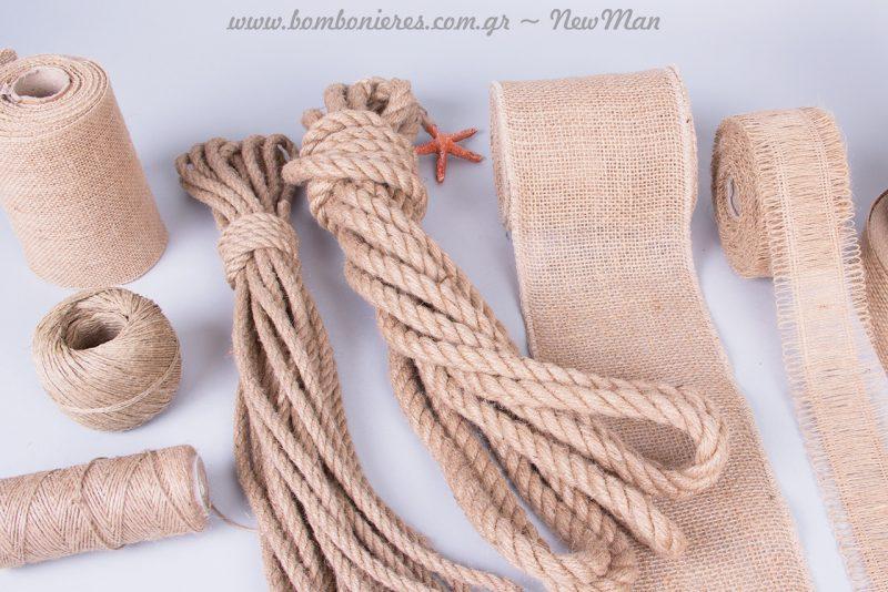 Κορδέλες, κορδόνια, σπάγκοι και σχοινί για τη διακόσμηση του γάμου ή της βάπτισης.