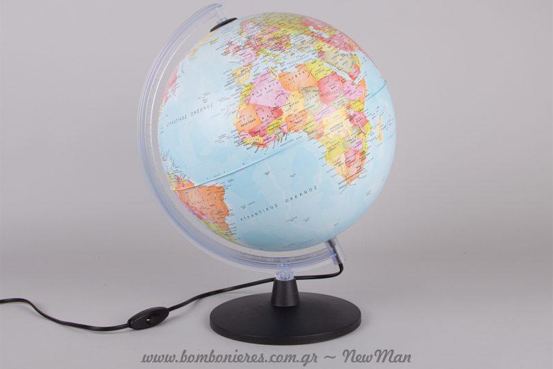 Πολιτική Υδρόγειος Σφαίρα με Φως (730004) Πλαστική Βάση - Δ:30 εκ. & Ύ:40,5εκ.
