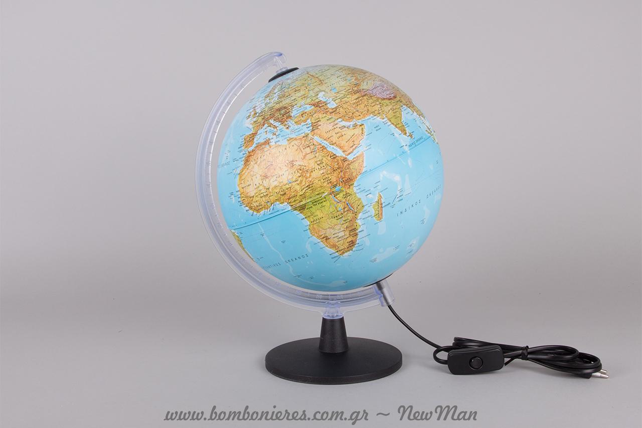 Γεωφυσική Υδρόγειος Σφαίρα με Φως (730006) Πλαστική Βάση - Δ:25εκ. & Ύ:35,5εκ.