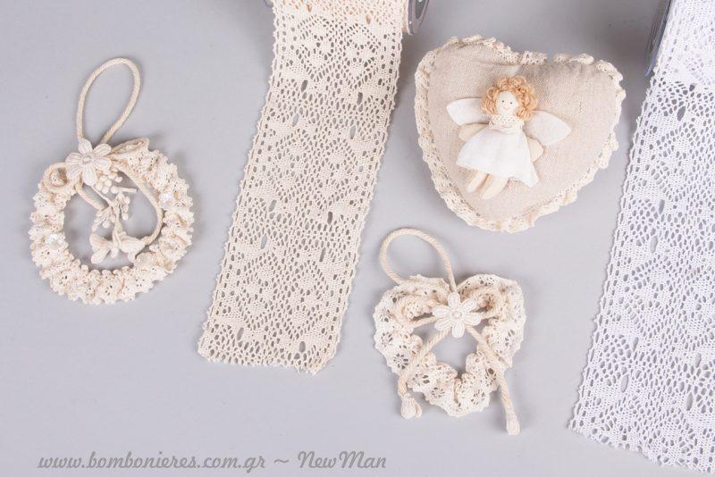Υλικά σε ρομαντικό ύφος για την διακόσμηση και τον στολισμό του γάμου και της βάπτισης.