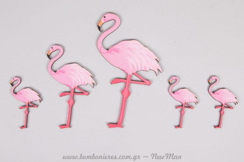 Ξύλινα διακοσμητικά ροζ φλαμίνγκο σε δύο διαστάσεις (13 ή 18 εκ.)