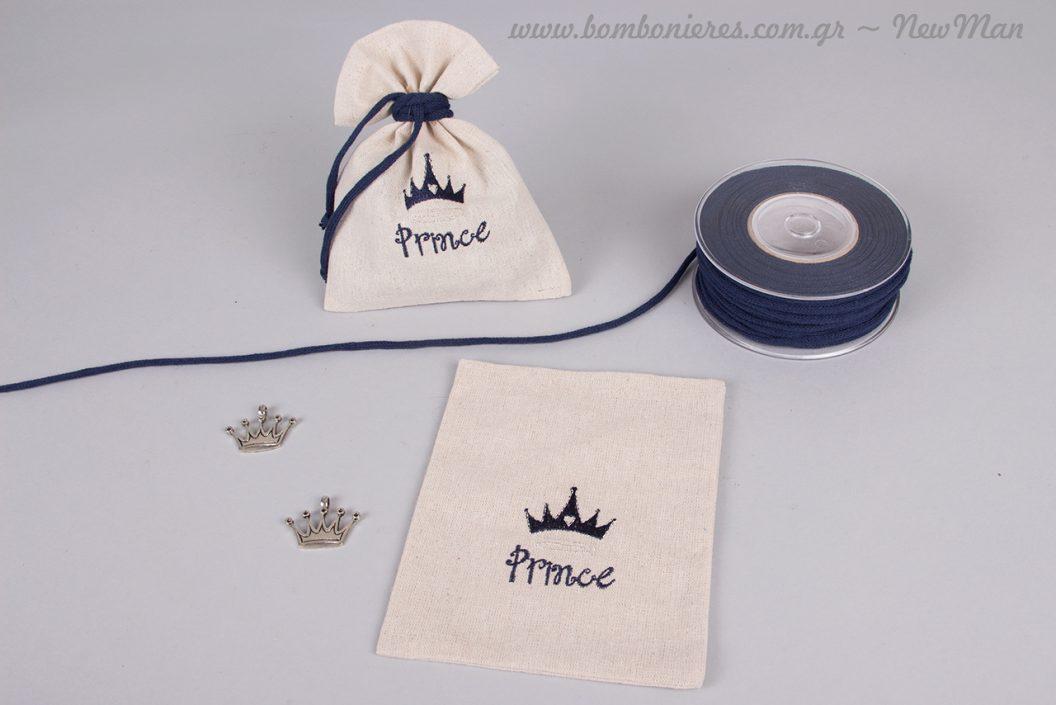 Κεντημένο πουγκί Prince (σε ναυτικό μπλε) και μεταλλική κορώνα αντικέ σε ασημί.