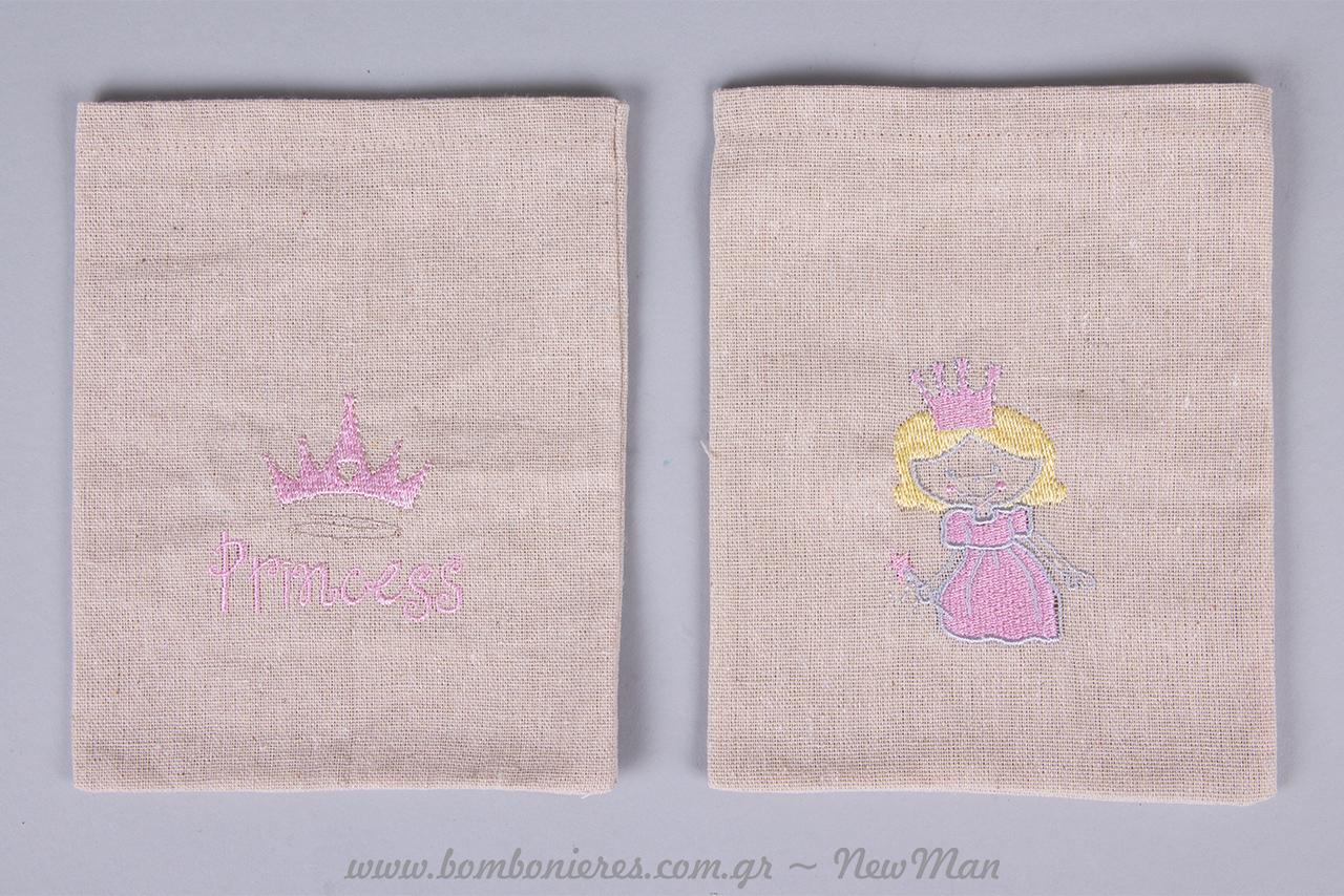 Πουγκάκια για την βάπτιση της μικρής σας πριγκίπισσας με ροζ κορδέλες και κορδόνια.