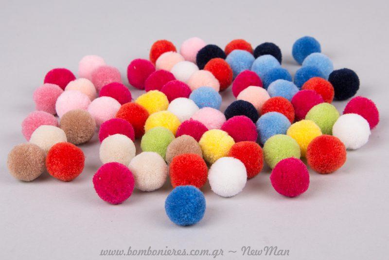 Πον πον σε διάφορα χρώματα, θα δώσουν κέφι και χρώμα σε οποιαδήποτε δημιουργία σας.