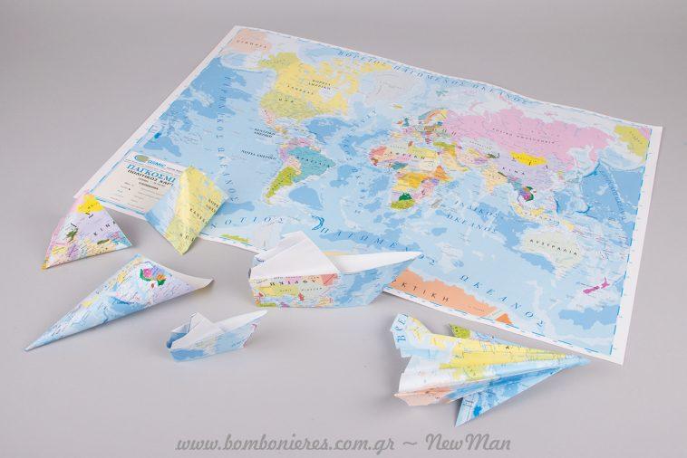 Ιδέες για χαρτο-μπομπονιέρες και διακοσμητικά με θέμα: ταξίδι.