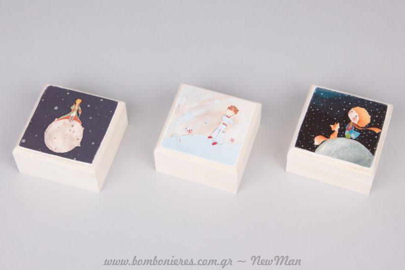 Ξύλινα κουτιά-μπιζουτιέρες για βάπτιση με θέμα τον Μικρό Πρίγκιπα.