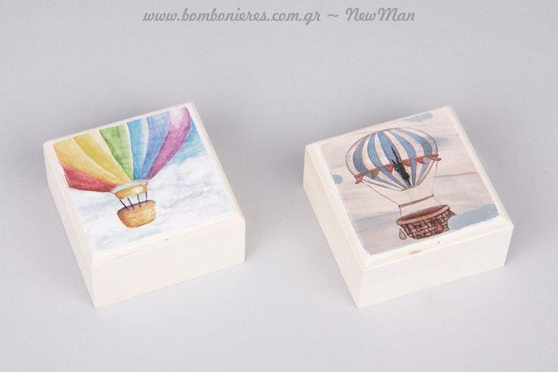 Ξύλινο κουτί-μπιζουτιέρα με σχέδιο αερόστατο σε δυο παραλλαγές (σιέλ αερόστατο & πολύχρωμο).