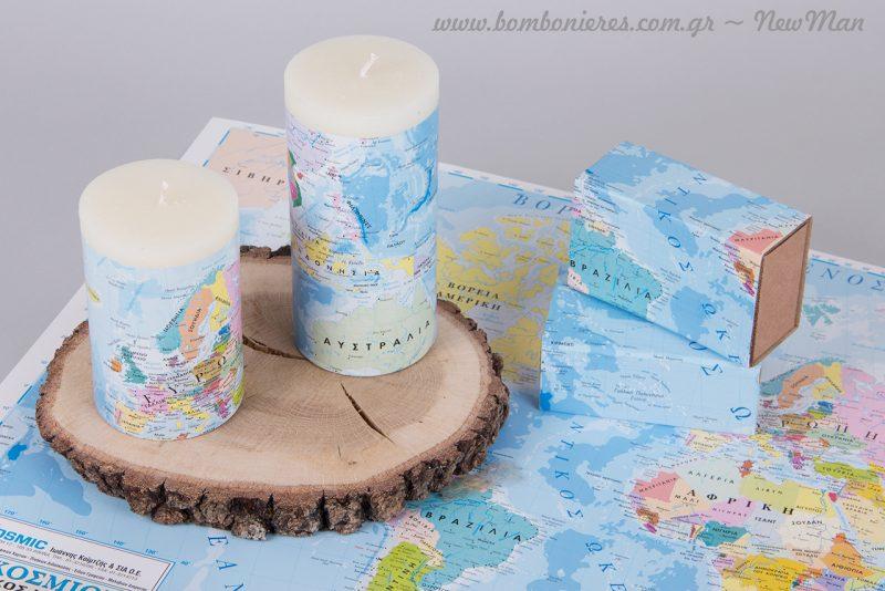Διακοσμητικά κεριά επενδυμένα με φύλλο «Παγκόσμιος Χάρτης».