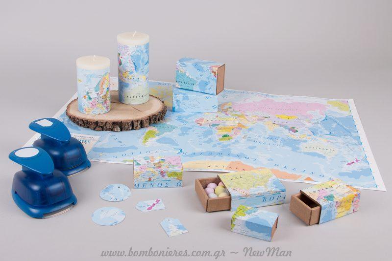 Μπορείτε να στηρίξετε ολόκληρο τον στολισμό του γάμου σας πάνω στο θέμα: Κόσμος, ταξίδια, Παγκόσμιος Χάρτης.