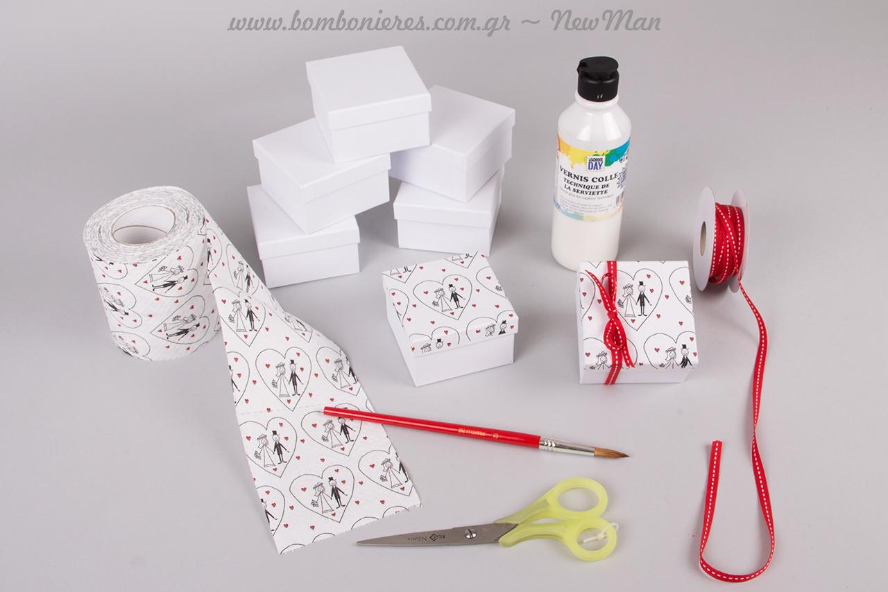 Κόλλα για χαρτοπετσέτες, πινέλο ακουαρέλας, ψαλίδι και χαρτί υγείας 3φυλλο Paper Design, τα υλικά που θα χρειαστείτε.