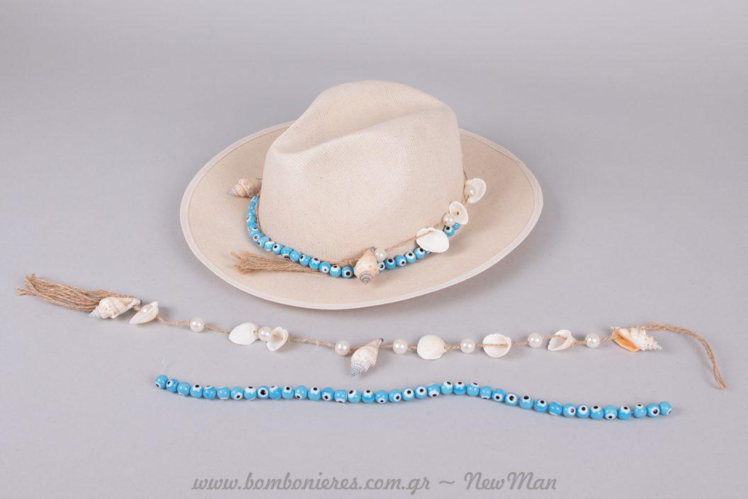 Καπέλο με χάντρες Millefiori και γιρλάντα με θαλασσινά στοιχεία.