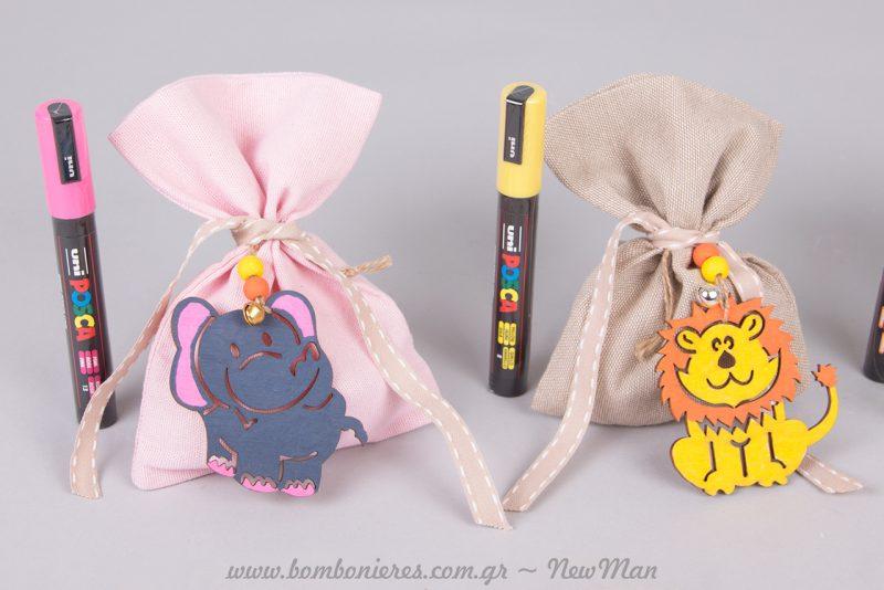 Πουγκί με κρεμαστό διακοσμητικό ελεφαντάκι σε μπλε/ροζ χρώμα και λιοντάρι σε κίτρινο/πορτοκαλί.