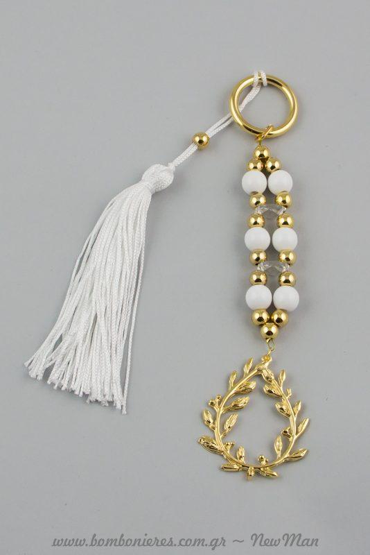 Γούρι με στεφάνι και πέρλες σε λευκό-χρυσό (737009)