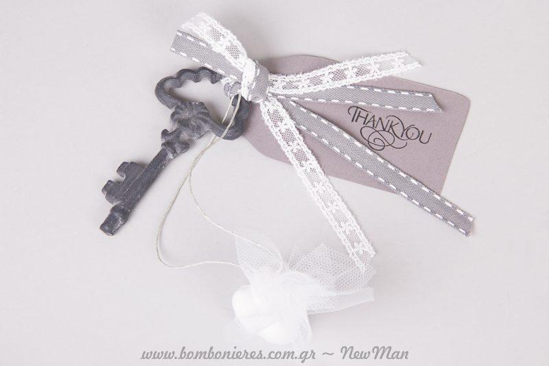 Φτιάξτε πρώτα τις ετικέτες που συνοδεύουν την κρεμαστή μπομπονιέρα με κλειδί, τις οποίες θα σφραγίσετε με την καλλιγραφική σφραγίδα Thank you.