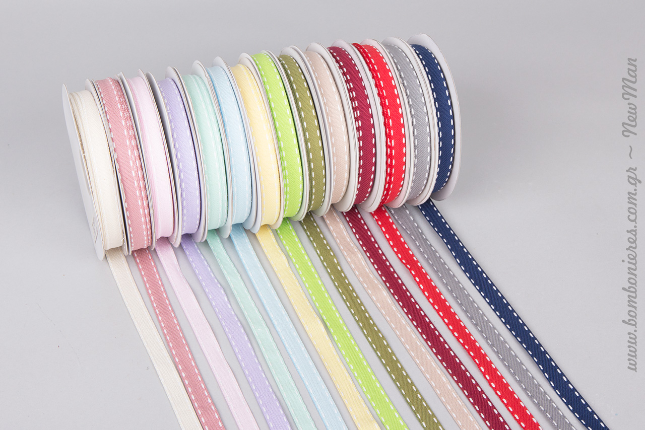 Βαμβακερές κορδέλες με γαζί ούγια σε 14 διαφορετικούς χρωματικούς συνδυασμούς σε φάρδος 6mm ή 12mm.