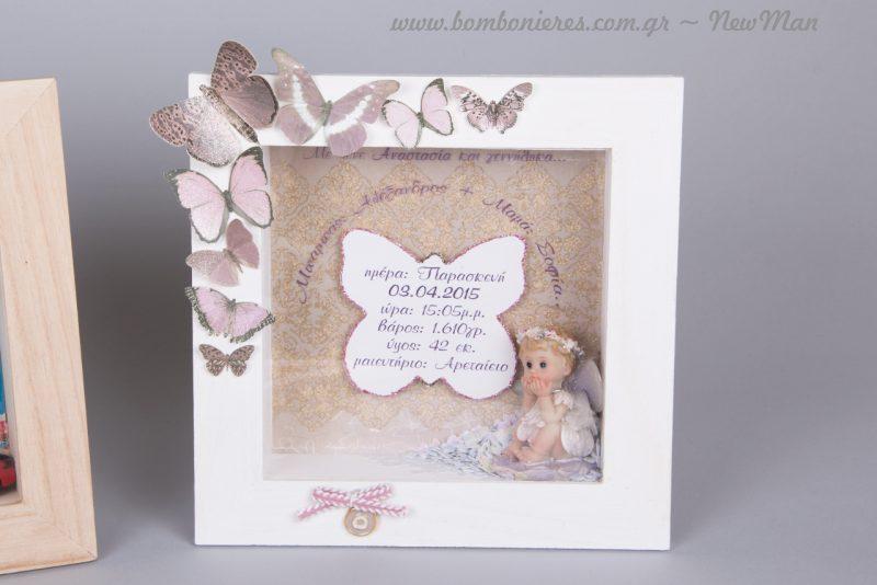 Ρομαντικό ύφος για το μικρό σας κοριτσάκι με θέμα πεταλούδα κι αγγελάκι.