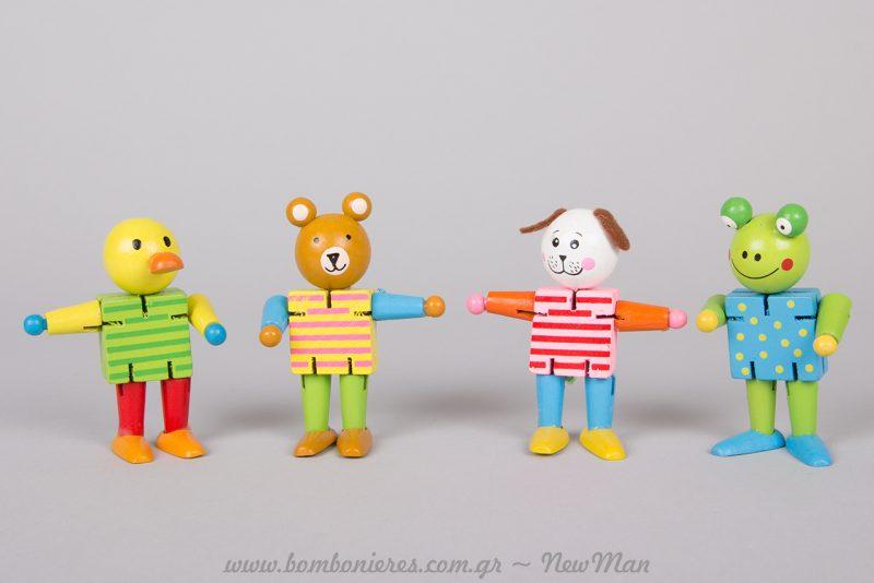 Ξύλινα ζωάκια, ιδανικά ως αναμνηστικό δωράκι στο παιδικό πάρτι.