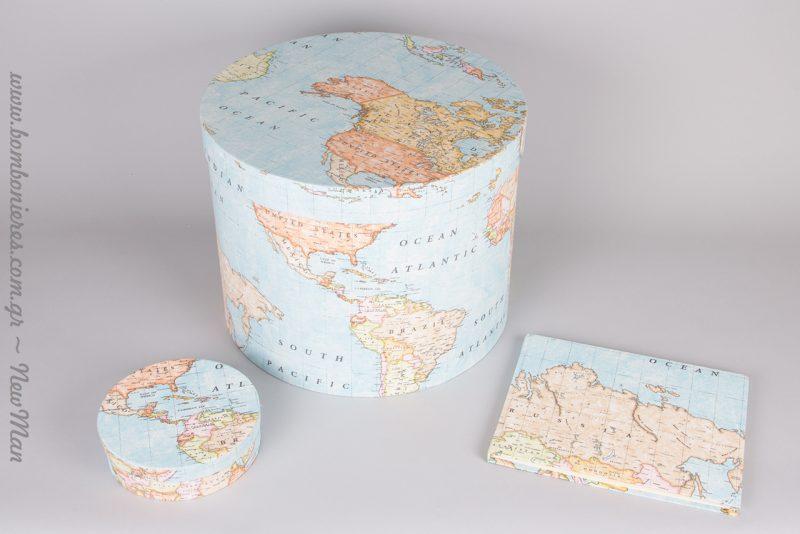 Θέμα ταξίδι και Παγκόσμιος χάρτης για τον χειμωνιάτικο γάμο ή την βάπτιση.