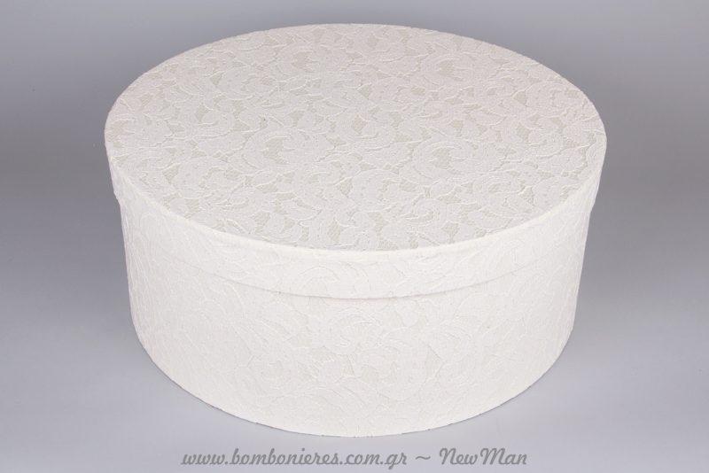 Καπελιέρα/ βαπτιστικό κουτί (φ48 x 20cm) σε λευκό για την βάπτιση της μικρή σας.