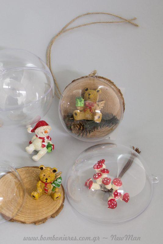 DIY χριστουγεννιάτικα στολίδια με κορμούς ξύλων και διάφανες μπάλες Clear.