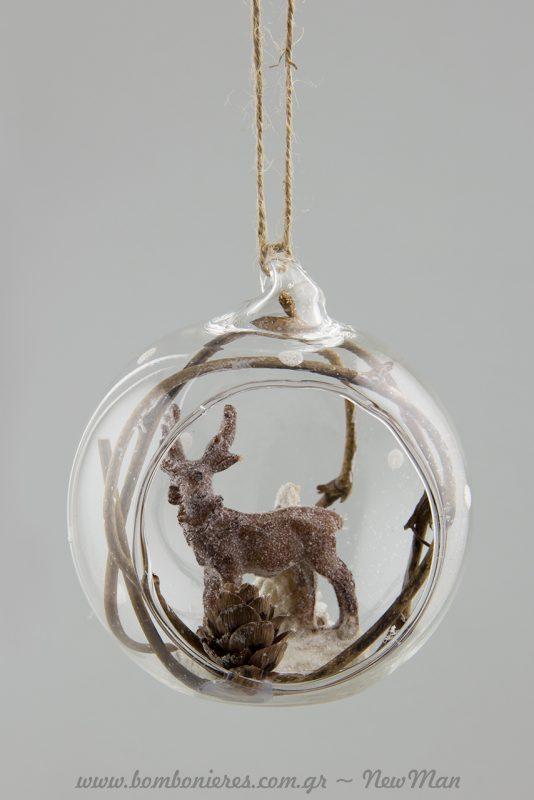 Διάφανες χριστουγεννιάτικες μπάλες με ελάφι ή σκίουρο σε φυσικούς τόνους.