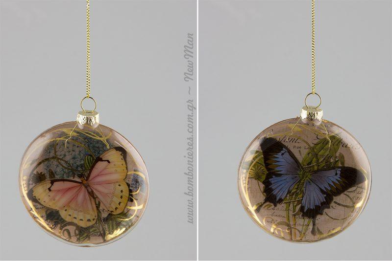 Γυάλινες μπάλες σε vintage ύφος με πεταλούδες (μπλε ή κίτρινο).