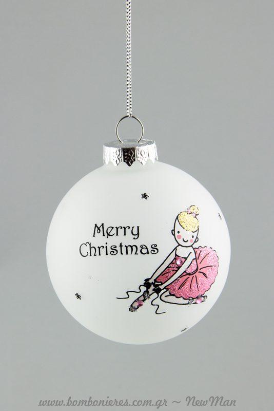 Merry Christmas με μπαλαρίνα που φοράει τις πουέντ της (380394).