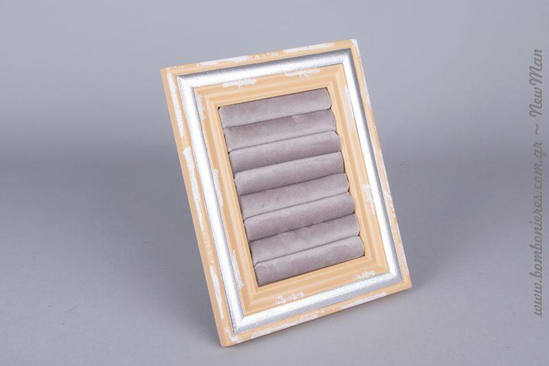 Θήκη Δακτυλιδιών-Κορνίζα Γκρι-Χρυσό Αντικέ 25x20x3cm