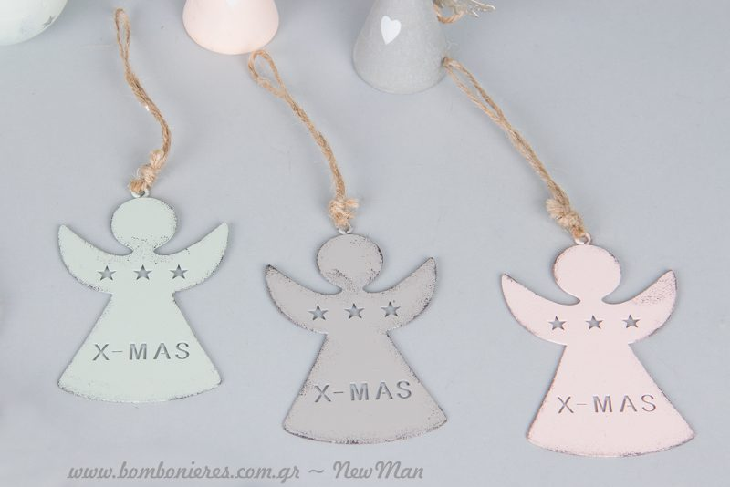 Κρεμαστά μεταλλικά αγγελάκια XMAS.