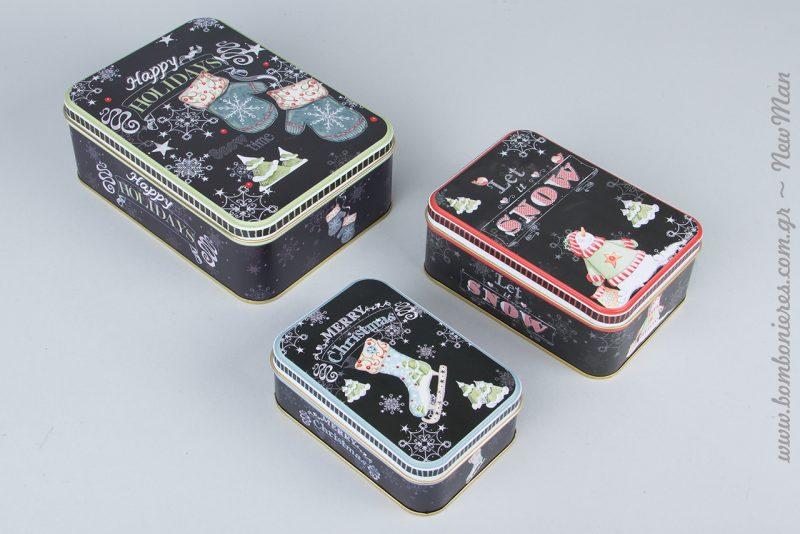 Μεταλλικά κουτιά παραλληλόγραμμα σε μαύρο χρώμα και «let it snow».