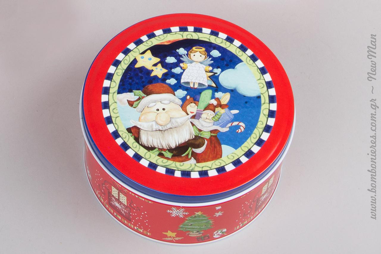 Μεταλλικό χριστουγεννιάτικο κουτί στρογγυλά με Αγ. Βασίλη σε έντονο κόκκινο.