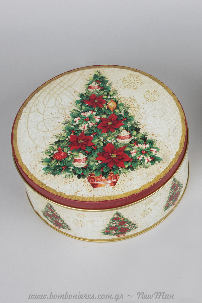 Χριστουγεννιάτικα μεταλλικά κουτιά στρογγυλά με αλεξανδρινό, έλατο ή στεφάνι.