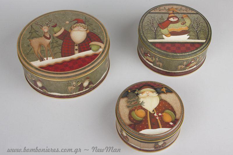 Μεταλλικά οβάλ κουτιά με θέμα Αγ. Βασίλη ή χιονάνθρωπο σε λαδοπράσινες αποχρώσεις.