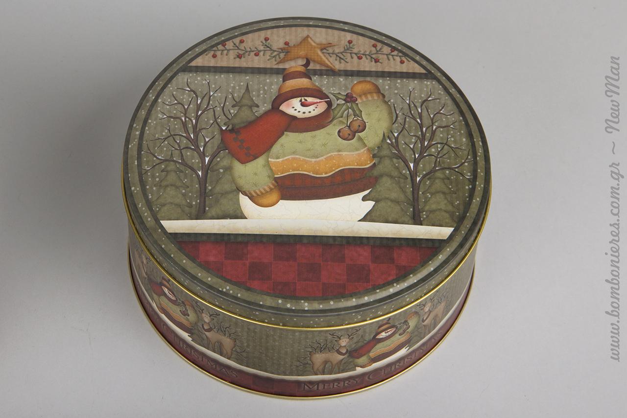 Μεταλλικά στρογγυλά κουτιά με θέμα Αγ. Βασίλη ή χιονάνθρωπο σε λαδοπράσινες αποχρώσεις.