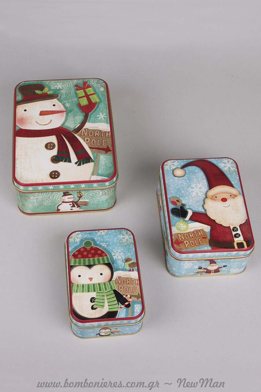 Μεταλλικά παραλληλόγραμμα κουτιά με πιγκουίνο, χιονάνθρωπο και Αγ. Βασίλη σε γαλάζια απόχρωση.