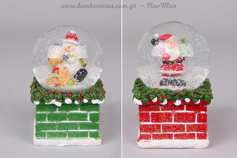 Χιονόμπαλα με Άγιο Βασίλη και χιονόμπαλα με χιονάνθρωπο για την εορταστική σας διακόσμηση.