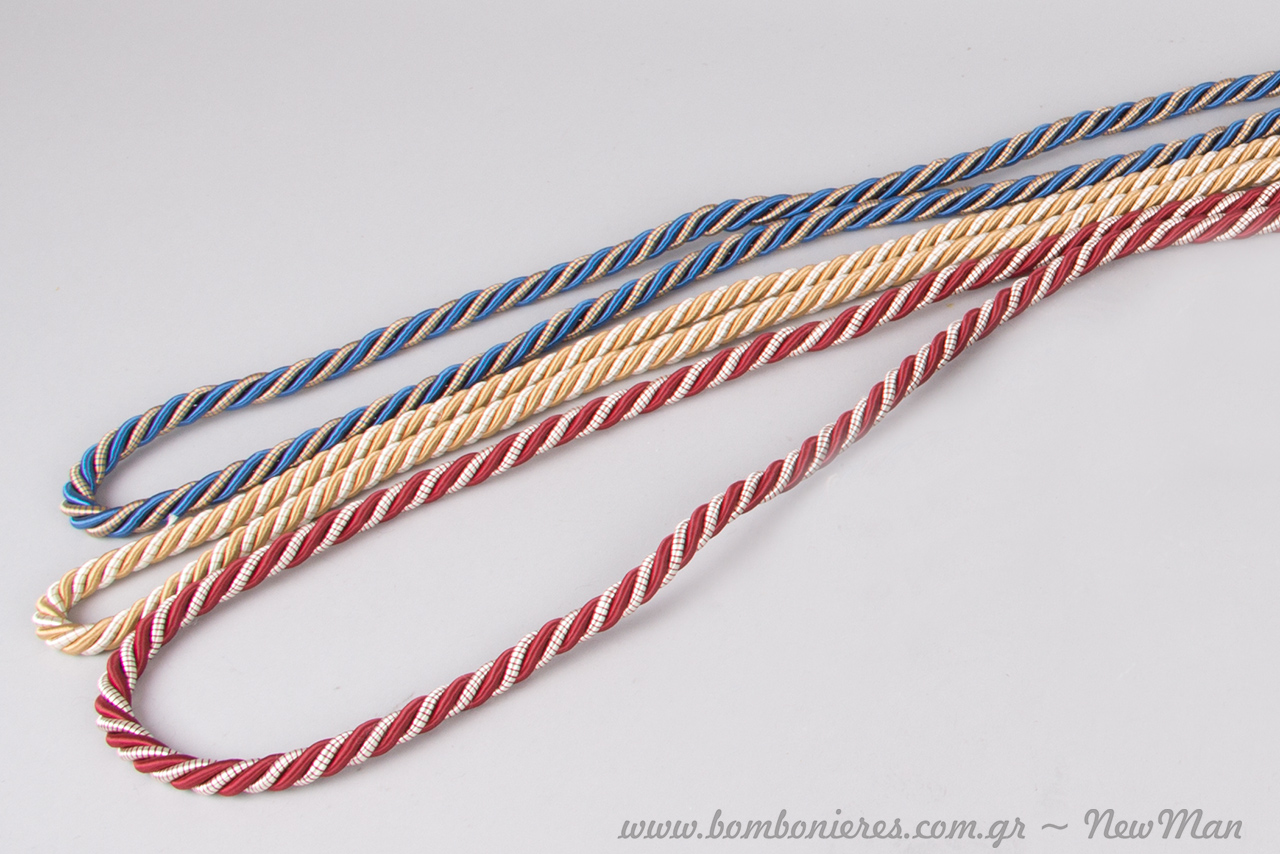 Δίχρωμα κορδόνια ρεγιόν (καρούλι τριών μέτρων): κόκκινο-λευκό, χρυσό-λευκό, μπλε-χρυσό (702017).