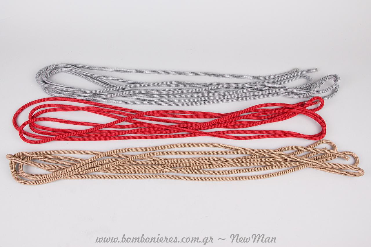 Ριγέ κορδόνι βιβλιοδεσίας (5m.) σε γκρι, κόκκινο ή εκρού (095308).